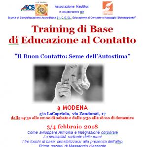 MODENA, TRAINING DI BASE DI EDUCAZIONE AL CONTATTO @ Centro La Capriola, Modena